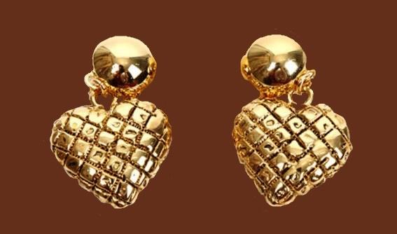 Beautiful gold tone heart shaped earrings