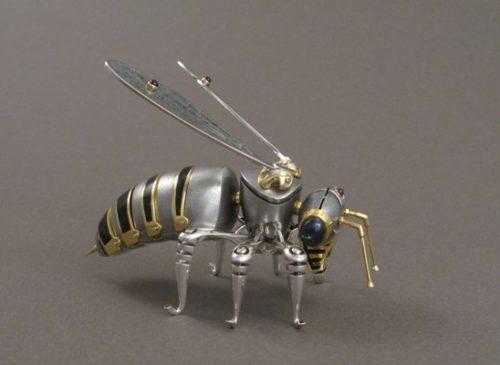 Bee, interior decoration. Silver, gilding, hot enamel, stained-glass enamel, garnet, obsidian