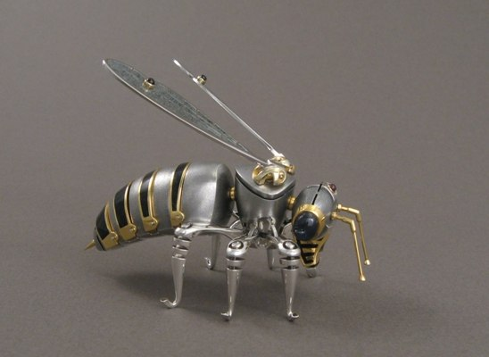 Bee, interior decoration. Silver, gilding, hot enamel, stained-glass enamel, garnet, obsidian