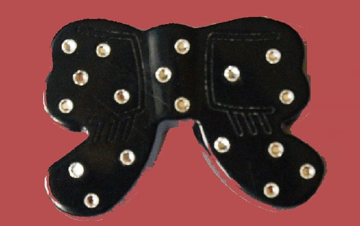 Black plastic and Swarovski crystals bow brooch, vintage