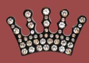 Black resin and rhinestones crown brooch