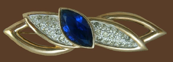 Blue Marquise pave rhinestone gold tone bar pin brooch