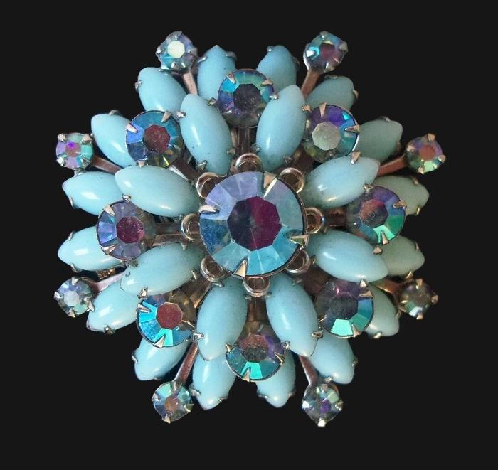 Blue Milk Glass Cabochon Flower brooch. 1960s