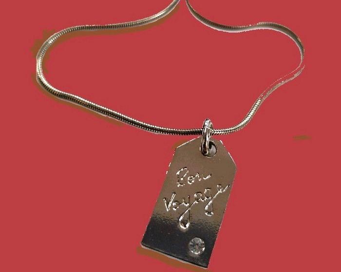 Bon Voyage silver metal necklace with pendant, vintage