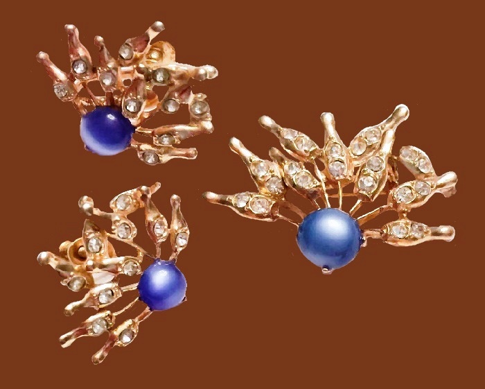 Bowling set of brooch and earrings. Blue cabochons, rhinestones. 1960s