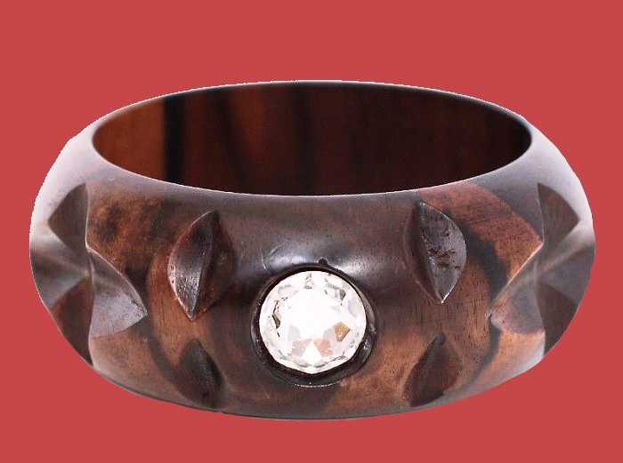 Brown wooden bracelet with rhinestone
