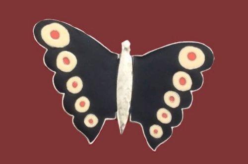 Butterfly brooch. Enamel, silver tone metal