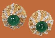 Cabochon Faux-Emerald Rhinestone Earrings