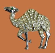 Camel brooch. Silver tone metal and rhinestones. 1960s