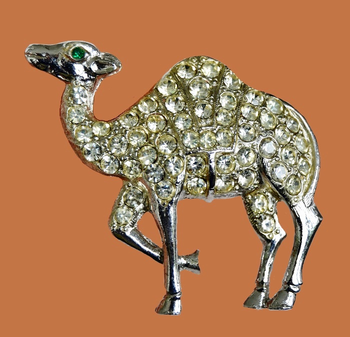 Camel brooch. Silver tone metal and rhinestones. 1960s
