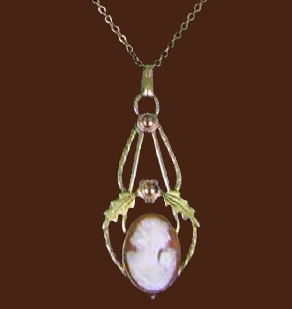 Cameo pendant, handmade, ivory, gold metal