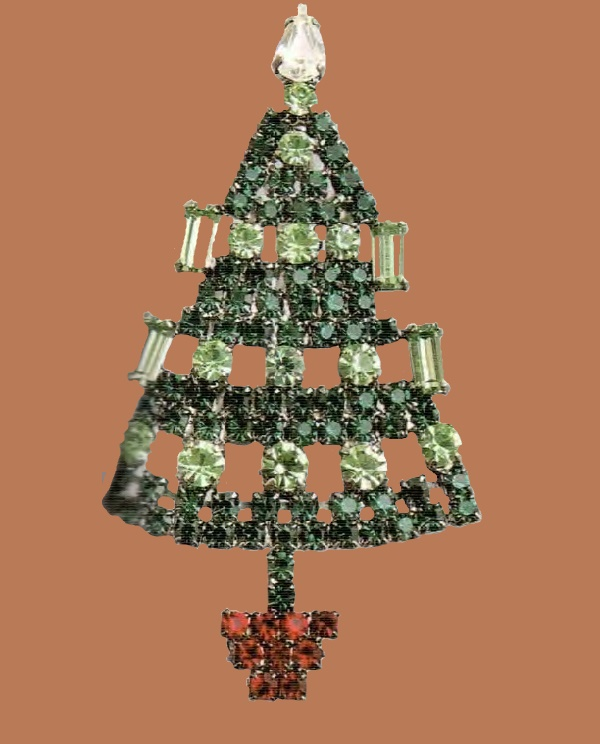 Christmas Brooch, Swarovski crystals, emerald and peridot glass. The 1990s. length 7.5 cm £ 30-35 CRIS