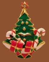 Christmas Tree Brooch, enameled, rhinestone and zirconia. 1940s