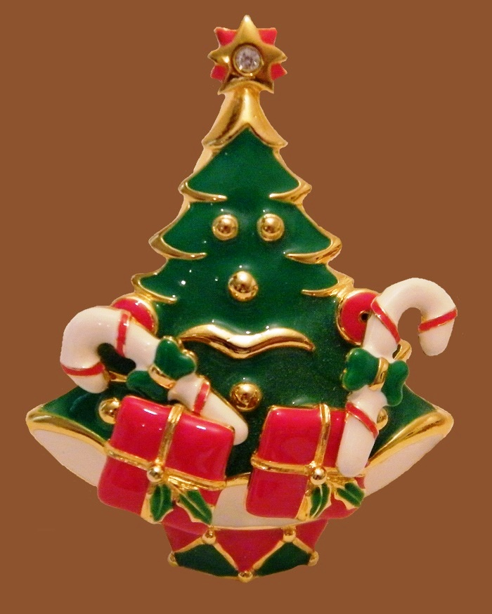 Christmas Tree Brooch, enameled, rhinestone and zirconia. 1940s