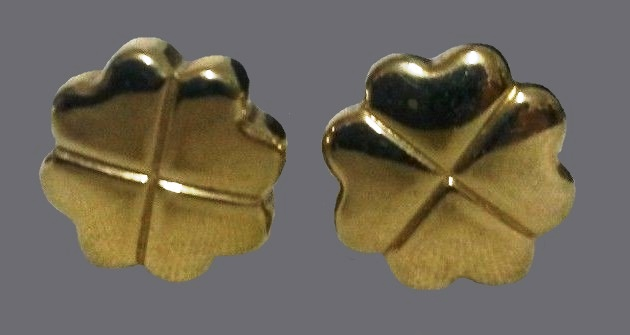 Clover earrings gold tone metal