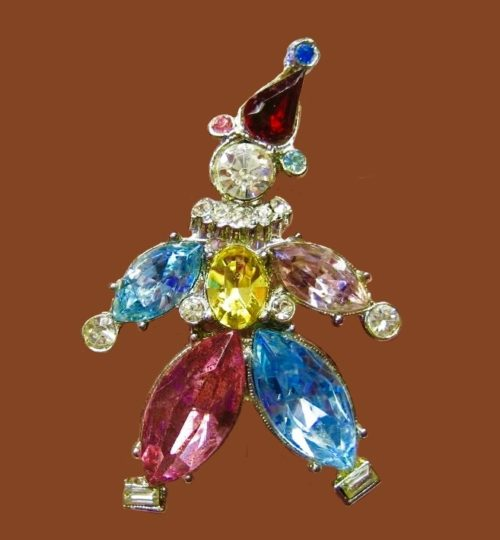 Clown pin. Color crystals, silvered metal