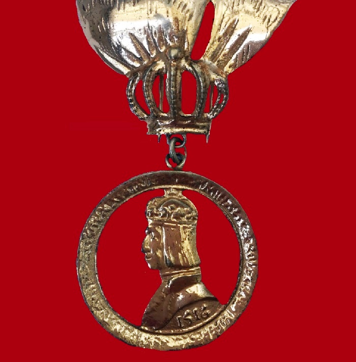 Collectible silver brooch, a series of heraldic brooches created by Nettie Rosenstein until 1947
