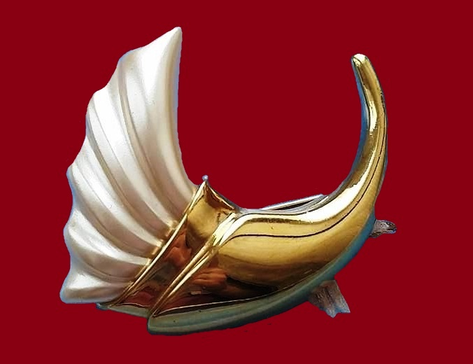 f9212cf4ebf Cornucopia, brooch, 1960-1970s. Made of a jewelry alloy, plastic with