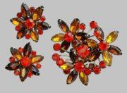 Crystal Flower brooch and Earrings. Red, orange rhinestones. 1950s
