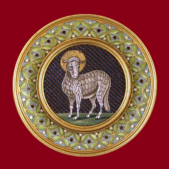 Decorated with micromosaic, gold brooch