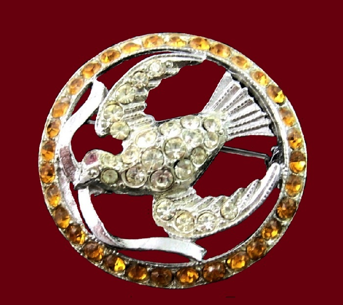 Dove in a circle colored rhinestones pin
