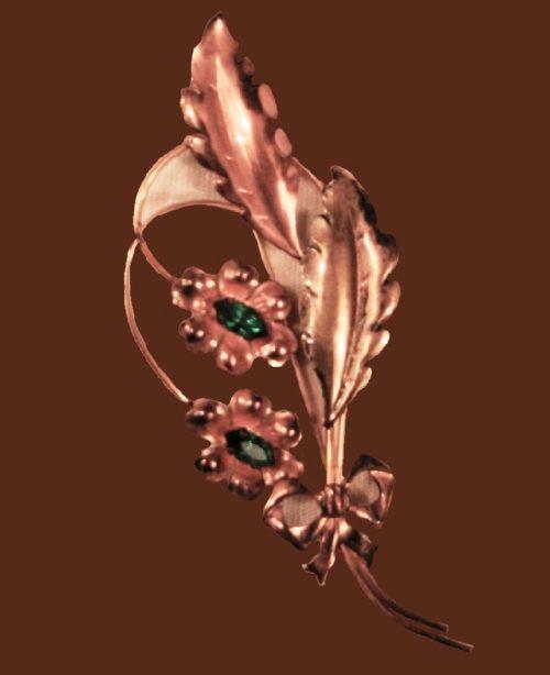 Elegant 12-carat gold brooch, floral motif, vintage