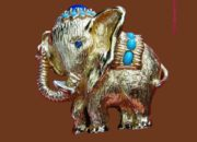Elephant brooch. Blue crystal eye, Turquoise and Lapis