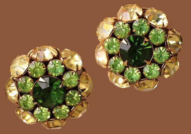 Emerald Peridot Earrings. 1960s