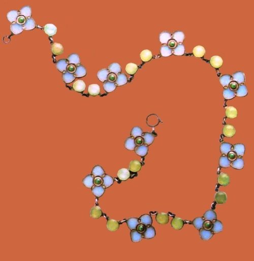 Enameled necklace. Metal, gilding, blue, green and turquoise enamels. 1903 38 cm. £ 3000-3500 NBLM
