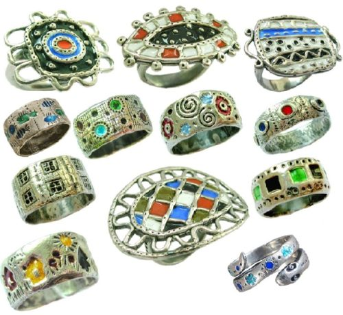 Enameled silver rings created by Vera Palkina