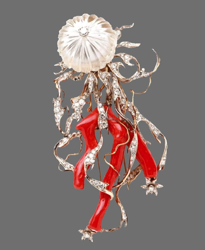 Enrico Serafini's medusa brooch. Yellow and white gold, diamonds, rock crystal, and coral