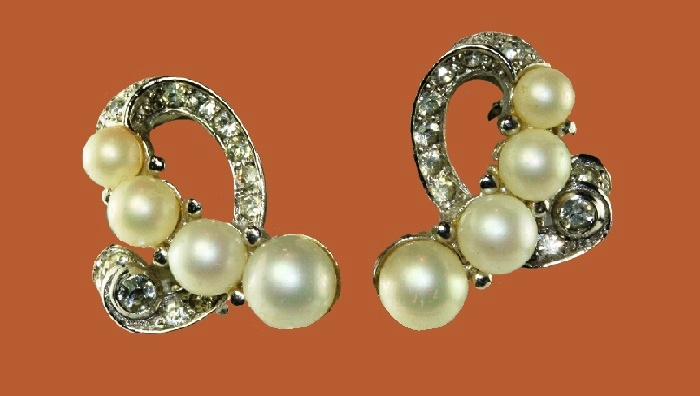 Faux pearl and rhinestone silver earrings