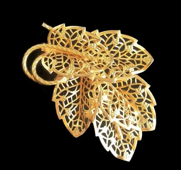 Filigree Leaf Brooch. 1960s