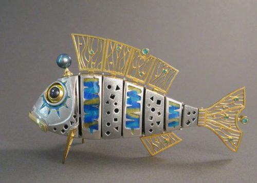 Fish sculpture, interior sculpture. Silver, gilding, enamel, pearl, emeralds