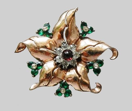 Floral motif Pennino silver vintage brooch of 1940s