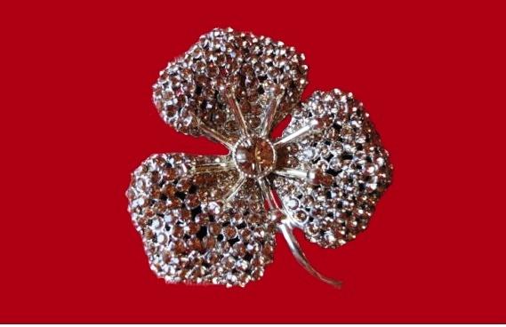 Flower brooch. Silver tone metal and rhinestones