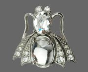 Fly brooch. Jelly belly, silver tone metal, rhinestones