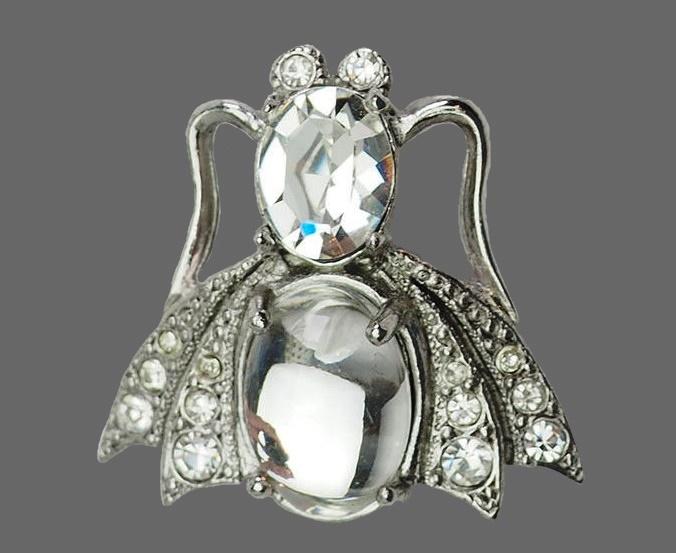 Fly brooch. Jelly belly, silver tone metal, rhinestones