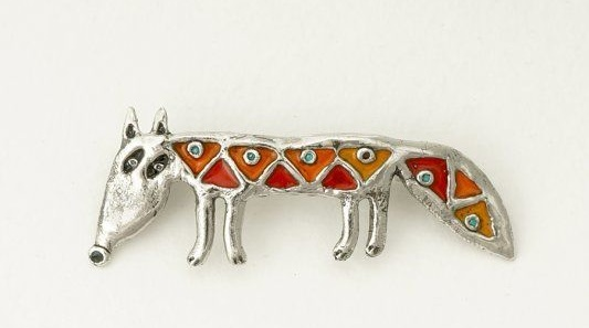 Fox brooch. Silver, enamel