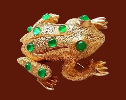 Frog Brooch, 1960s. Jewelery alloy, cabochons