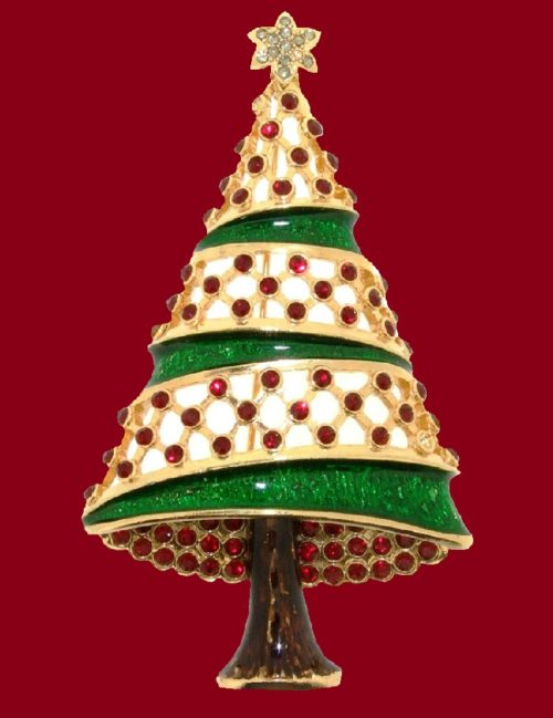 Gold plated metal, decorated with green enamel and clear and red crystals Christmas tree brooch