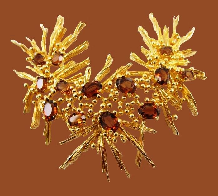Gold tone metal, topaz, rhinestone pin. Vintage 1960's
