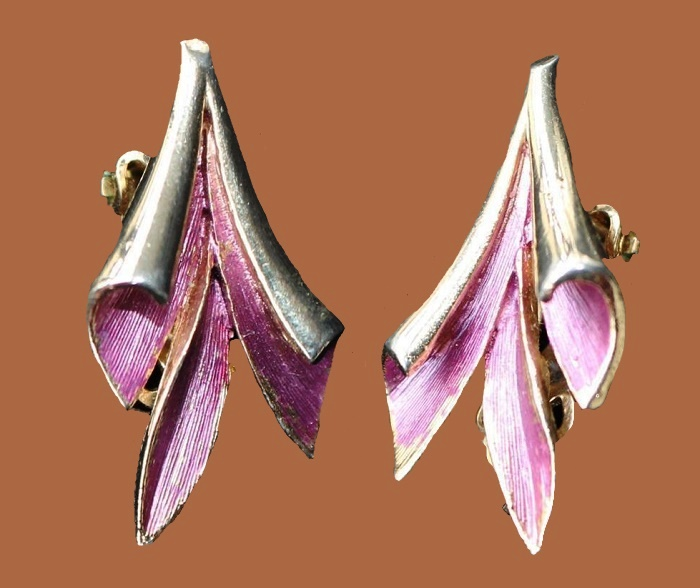 Goldtone Pink Enamel Clip-On Earrings