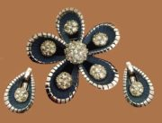 Gorgeous set - brooch and earrings, floral motif