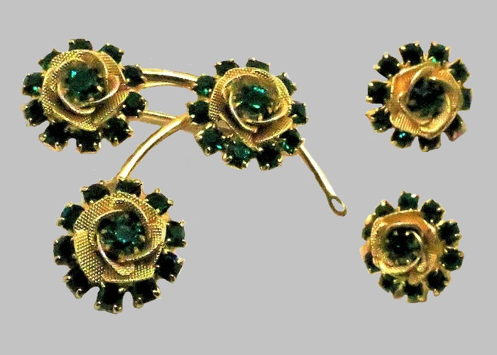 Green Floral brooch and earrings. 1960s