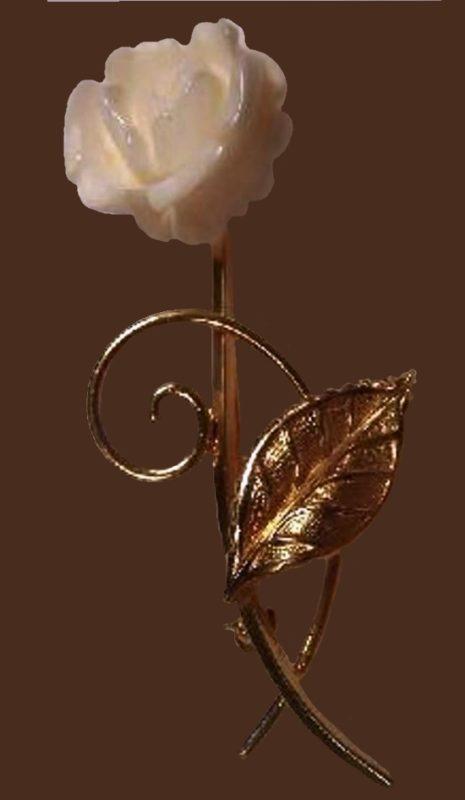 Handcarved ivory rose brooch, gold-colored metal