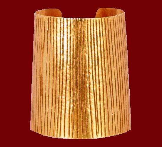 Handmade from textured gold plated-brass bracelet bangle