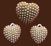 Heart shaped earrings and brooch, faux pearl, gold tone metal