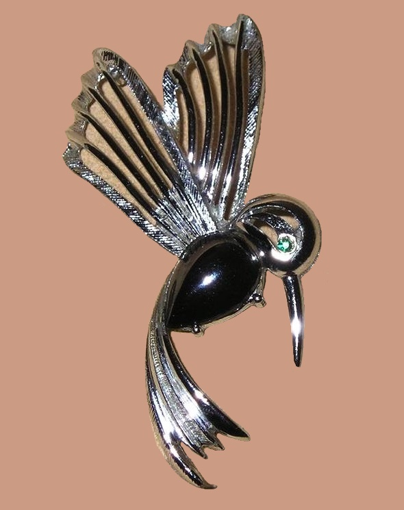 Hummingbird Brooch With Hematite Tear Drop Cabochon. 1960's