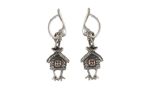 Hut on chicken legs, silver and enamel earrings. Author Vera Palkina